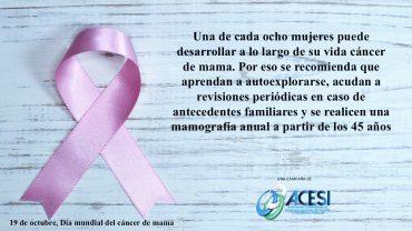 Hoy, Día Mundial contra el cáncer de mama