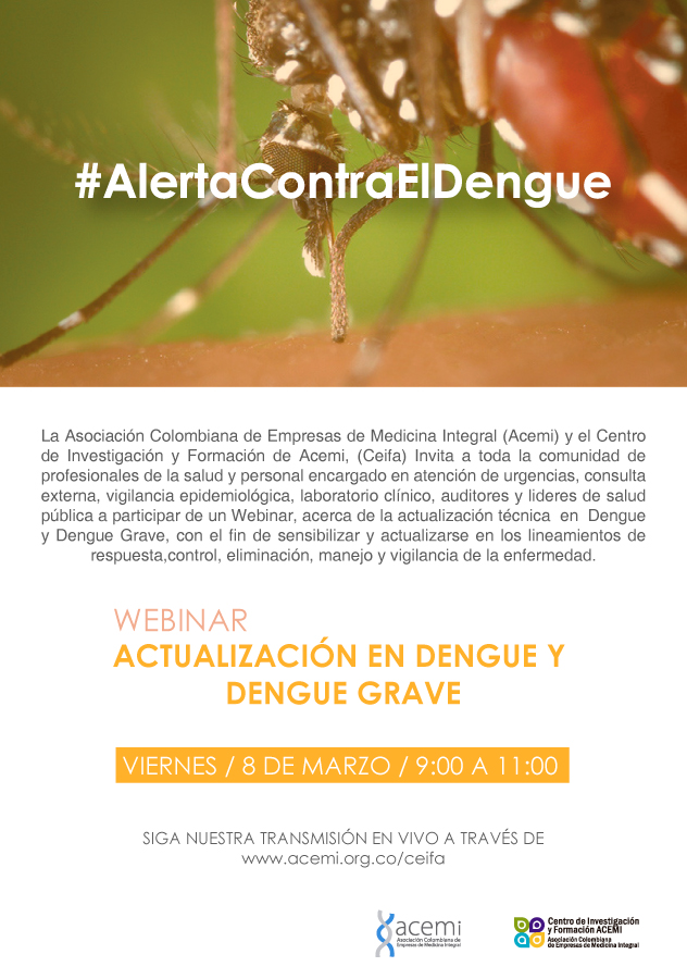 Webinar sobre dengue y dengue grave este 8 de marzo